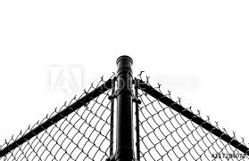 Abstract Black Chain Link Fence With White Sky Background Black Metal Chain Fence Chrome Steel Chain Fence Symmetrical Design Industrial Design Industrial Fence Black And White Steel Frame Buy This Stock