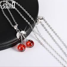 925 sterling silver necklaces with red