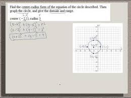 college algebra center radius form of