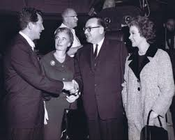 """Dean Martin and Susan Hayward welcome California Governor Pat Brown and his  wife Bernice to the set of """"Ada""""   Dean martin, Susan hayward, Classic films"""