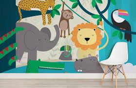 Jungle Friends Wallpaper Mural Murals Wallpaper Friends Wallpaper Kids Wall Murals Kids Wallpaper