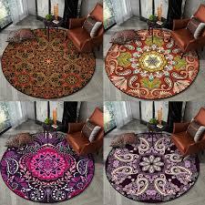 Best Price 51a525 Bohemian Ethnic Round Carpets Bedroom Floral Mandala Living Room Rug Tapestry Anti Skid Bathroom Floor Carpet Kids Room Chair Cicig Co
