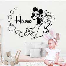 Personalized Custom Name For Kids Cute Mickey Mouse Vinyl Decals Wall Sticker Decorations Living Room Baby Wallpaper Buy At The Price Of 2 65 In Aliexpress Com Imall Com