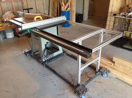 Table Saw Upgrade New Fence Rail With Steel And 80 20 Aluminum Table Custom Mobile Base Diy Table Saw Diy Table Saw Fence Table Saw Fence