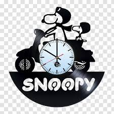 Snoopy Charlie Brown Phonograph Record Clock Vinyl Group Wall Decal Transparent Png