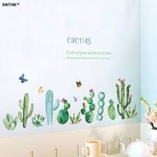 bibitime cactus wall decal peel and stick wall stickers green