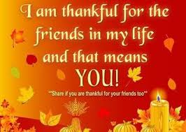 i am thankful for the friends in my life and that means you
