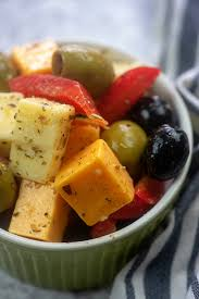 marinated cheese and olives that low