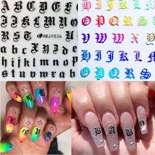 Vova 5pcs Mixed Random Nail Art 3d Decal Stickers Alphabet Letters White Black Gold Laser Acrylic Nails Tool