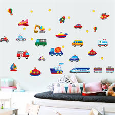 Cars Train Motor Bike Ship Transportation Wall Stickers For Kids Room Decoration Decals Children Wall Art Car Sticker Wish