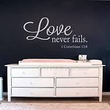 Amazon Com Battoo Love Never Fails Vinyl Wall Decal 22 W 10 5 H Bible Verse Scripture Quote Decal Wedding Registry Home Decor White Furniture Decor