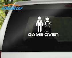 Funny Bride Groom Married Game Over Art Vinyl Sticker Car Decal Window Bumper Waterproof Stickers Modern Decor Hot Selling L337 Car Stickers Aliexpress