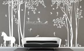 Nature Vinyl Forest Tree Wall Decal With Fairy Decal Girl Fairy Forest Wall Stickers For Living Room Decor Amazon Com
