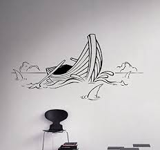 Boat On The Waves Wall Vinyl Decal Shark Buy Online In Guernsey At Desertcart