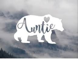 Auntie Bear With Heart Vinyl Decal Etsy