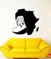 Vinyl Wall Decal Africa Continent Map African Girl Turban Stickers 2fz12 Wall Stickers Aliexpress