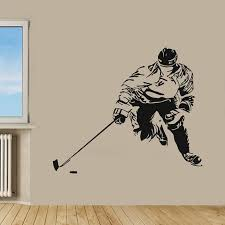 Shop Hockey Player Sport Wall Decor Boy Room Home Decor Vinyl Art Wall Decor Nursery Room Decor Sticker Decal Size 33x39 Color Black Overstock 14555245