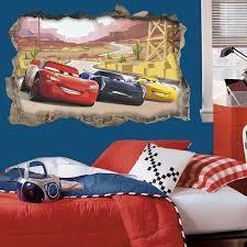 3d Disney Cars Through Wall Stickers For Kids Rooms Home Decor Cartoon Lightning Mcqueen Wall Decals Pvc Mural Art Diy Posters Wall Stickers Aliexpress