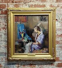 Gladys Nelson Smith - Woman in Purple looking at Flowers- Beautiful oil  painting   eBay