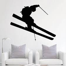 Skiing Wall Decal Ski Vinyl Stickers Ski Decal Skier Decal Ski Etsy