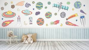Outer Space Rocket Planet Space Wall Decals Kids Wall Stickers Etsy