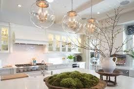 glass pendant lights over kitchen