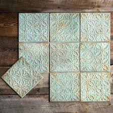 distressed tin ceiling tiles set of 4