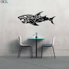 Tribal Great White Shark Decal For Walls Stickany