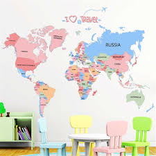 Colorful World Map Wall Stickers Global Travel English Decals Kids Room Living Room Nursery Home Decor Wallpaper Removable Mural Aliexpress