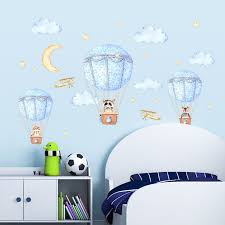 Cartoon Wall Sticker Animal Hot Air Balloons Kids Room Decoration Baby Bedroom Stickers Self Adhesive Wall Decor Home Decor Leather Bag