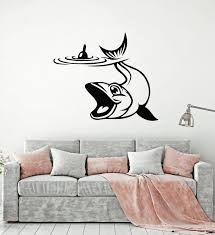 Vinyl Wall Decal Fishing Club Fisher Hobby Cartoon Fish Stickers Mural Wallstickers4you