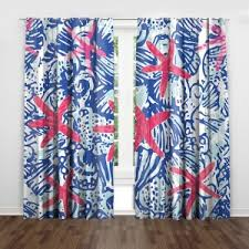 Starfish Navy Blue Stripe Red Nautical Curtains For Kids Room