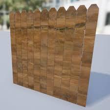 Dog Ear Wooden Fence Free 3d Model
