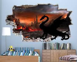 Dragon Volcano Boys Bedroom Decal Vinyl Wall Sticker Q058 Boys Room Mural Bedroom Decals Dragon Decor