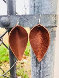 leather petal teardrop leaf earrings