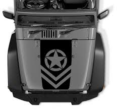 Jeep Chevron Oscar Mike Army Star Black Out Hood Vinyl Decal Jeep Wrangler Decals