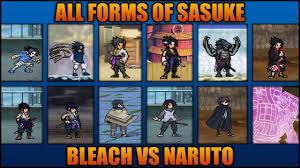 All Sasuke Forms - Bleach Vs Naruto 3.3 (Modded) - YouTube