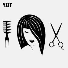 Yjzt 13 5cm 9 1cm Barbershop Lady Haircut Hair Salon Vinyl Black Silver Car Sticker C22 0182 Car Stickers Aliexpress