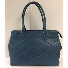 blue leather tote with trapunto stitch