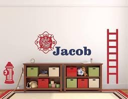 Amazon Com Custom Name Firefighter Wall Decal Boys Personalized Name Fireman Wall Sticker Custom Name Sign Custom Name Stencil Monogram Boys Nursery Room Wall Decor Handmade