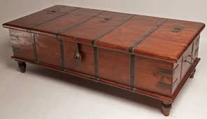 strapped coffee table lift top trunk