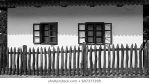 Old Wood Fence Old White House Stock Photo Edit Now 697377298