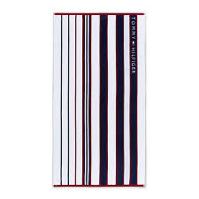 blue red striped beach towel