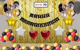 Theme My Party Happy Anniversary Decoration Combo Happy Anniversary Banner Gold Foiled Fringe Curtain Foil Balloons Latex Balloons Wedding Anniversary Party Decoration Photo Props Amazon In Toys Games