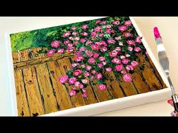 Art Acrylic Flower Fence Simple And Easy Paint On Canvas Step By Step Youtube