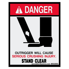 Outriggers Stand Clear Safety 5x4 W85893 Vinyl Decals Aaxis Distributors