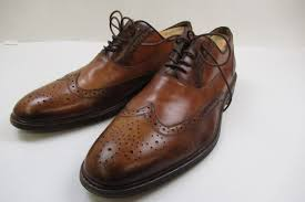 aldo full brogue brown leather shoes