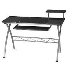 com metal desk with glass top
