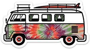 Amazon Com Stickeroonie Surf Van Bus Sticker Decal Large 5 X 2 73 Tie Dye Peace Bus Sticker Hippie Decals For Waterbottle Laptop Car Kitchen Dining