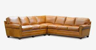 l shaped sectional in cognac leather